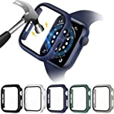 VASG [5 pack] Vidrio Templado Funda Compatible con Apple Watch Series 6/SE/Series 5/Series 4 44mm Protector de Pantalla Case