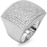 Dazzlingrock Collection 0.45 Carat (ctw) Round Diamond Men's Iced Pinky Wedding Band 1/2 CT, Sterling Silver
