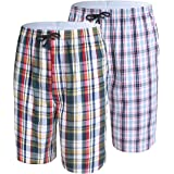 IDORIC Men's Pyjama Shorts — 100% Woven Soft Cotton Plaid Check Lounger Sleeping Pajama Bottoms with,Pockets 2Pack