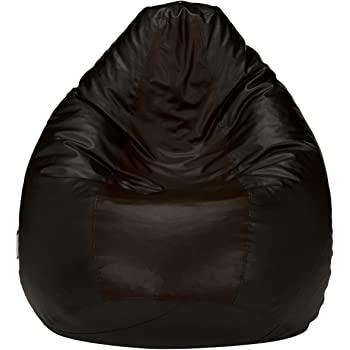 Amazon Brand - Solimo XXL Bean Bag Cover Without Beans (Black and Brown)