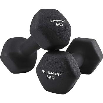 SONGMICS Juego de 2 Mancuernas para Gimnasio y Entrenamiento 2 x 5 kg SYL60BK