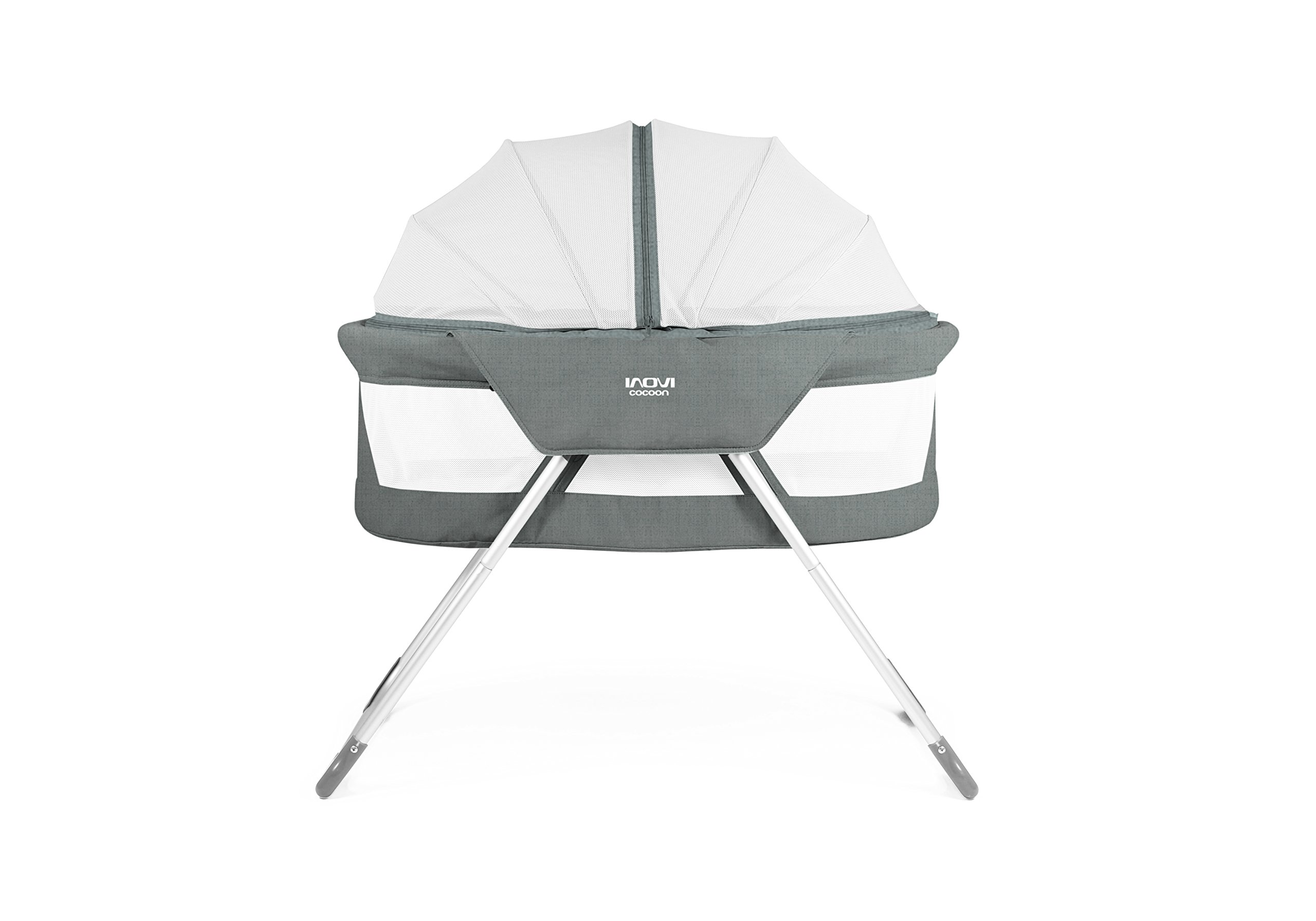 Inovi Cocoon Folding Moses Crib Travel Cot Grey Inovi Compact and lightweight for use at home or when travelling The Inovi Cocoon provides a safe andsecure sleeping environment for your baby. Suitable from birth up to approx. 6 months old 2