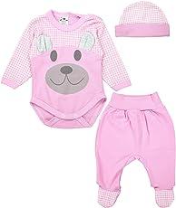 TupTam Baby Bekleidungsset Body Strampelhose Mütze Teddybär