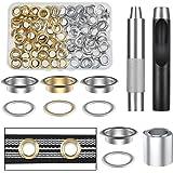 Vastar Grommet kit met oogjes, 100 stuks, metalen ogen met opbergdoos, zilver en goud (binnendiameter 1/2 inch)
