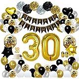 MMTX 30 Decorazioni per Feste di Buon Compleanno in Oro Nero, Palloncini per Compleanno, Pom Pom di Carta, Palloncini in Lami