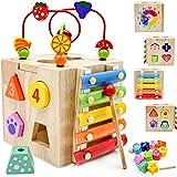 Centre d'activité en Boulier Bois Cube bébé,Labyrinthe de perles Montagnes russes Préscolaire Boîte d'apprentissage sur l'édu
