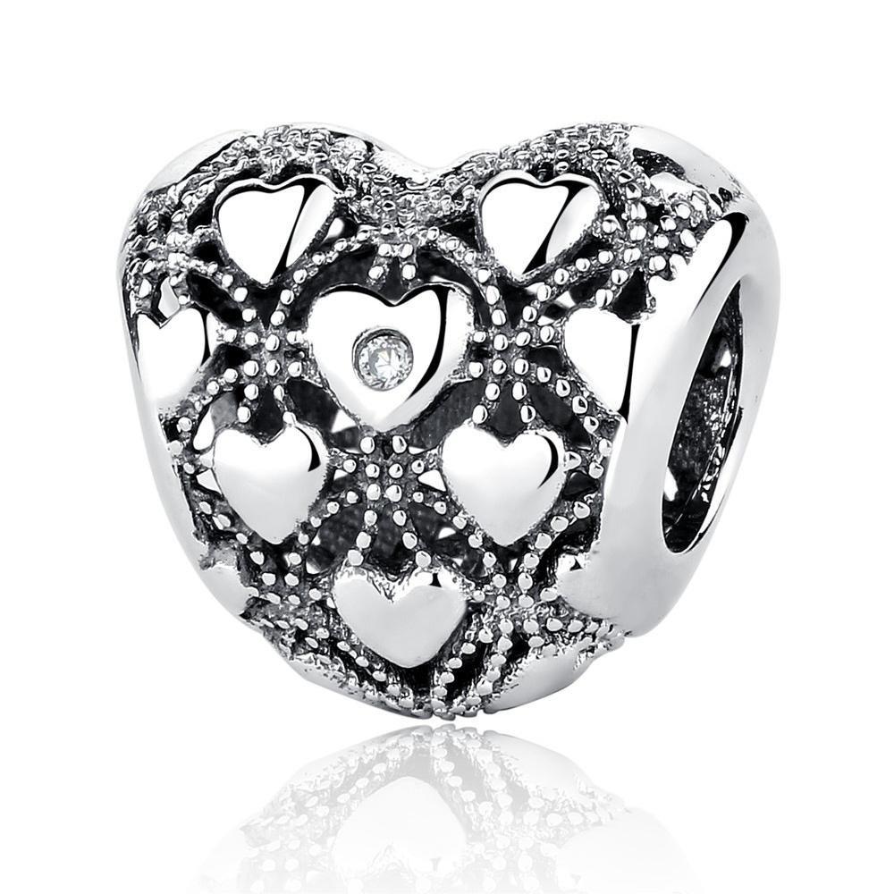 DIY Creative Heartbeat Charm Cuore Rosso 925 Charms in Argento Sterling per Bracciale e Collana Rega