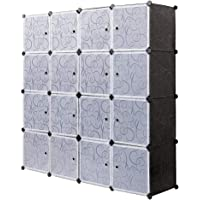 PONCTUEL ESCARGOT Armoire Penderie Opaque Décoré en Dessin Cube de Rangement Vêtement Jouet Noir Blanc (16 Cube)