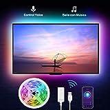 Tiras Led RGB Inteligente, Gosund, para TV Gaming, con Autoadhesiva, Compatir con Alexa/Assisant, Control de Voz/Remoto, Mult