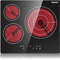 Karinear Plaque de cuisson en céramique intégrée 3 feux, Table de cuisson électrique en verre cristal noir avec commande…