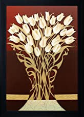 """SAF""""Flower"""" Painting (Synthetic, 25 cm x 35 cm x 2 cm, Special Effect Textured)"""