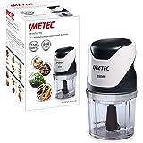 Imetec CH 500 Tritatutto, Lame in Acciaio Inox, Contenitore 400 ml, Funzionamento a Pressione, Compatto, 350 W,Bianco/Nero