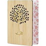 EKKONG Gefertigte Bambuskarte Beschreibbare mit Herz Baum, Geschenk für jeden Anlass - Grußkarte für Hochzeitstag…