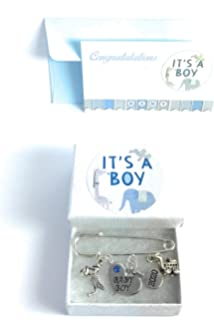 Baby Boy Nappy Pins Baby Brooch Keepsake Charms with Organza Gift Bag and Gift Card Teddy Bear and Letter Block
