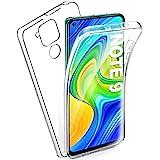 AROYI Funda Compatible con Xiaomi Redmi Note 9, Ultra Slim Doble Cara Carcasa Protector Transparente TPU Silicona y PC Dura R