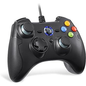 Controller Joystick per Giochi,EasySMX Controller Joystick per Giochi con Cavo con Doppial-vibrazione, Turbo e Pulsanti Anteriori per Windows / Android / PS3 / Box TV (nero)
