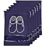 Lify Fabric Shoe Bags (Set of 6) (Transparent & Navy Blue)
