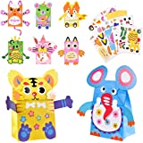 Pajaver DIY Paper Hand Puppet Making Kits, 8 Pcs Animal Hand Puppets for Kids Arts and Craft Project, Funny Puppets for Birth