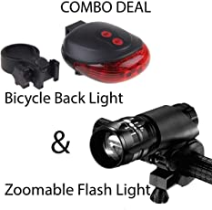 SHOPEE LED Laser Tail Light and Zoomable Mode Bicycle Headlight with Holder Clip Mount Combo of 5