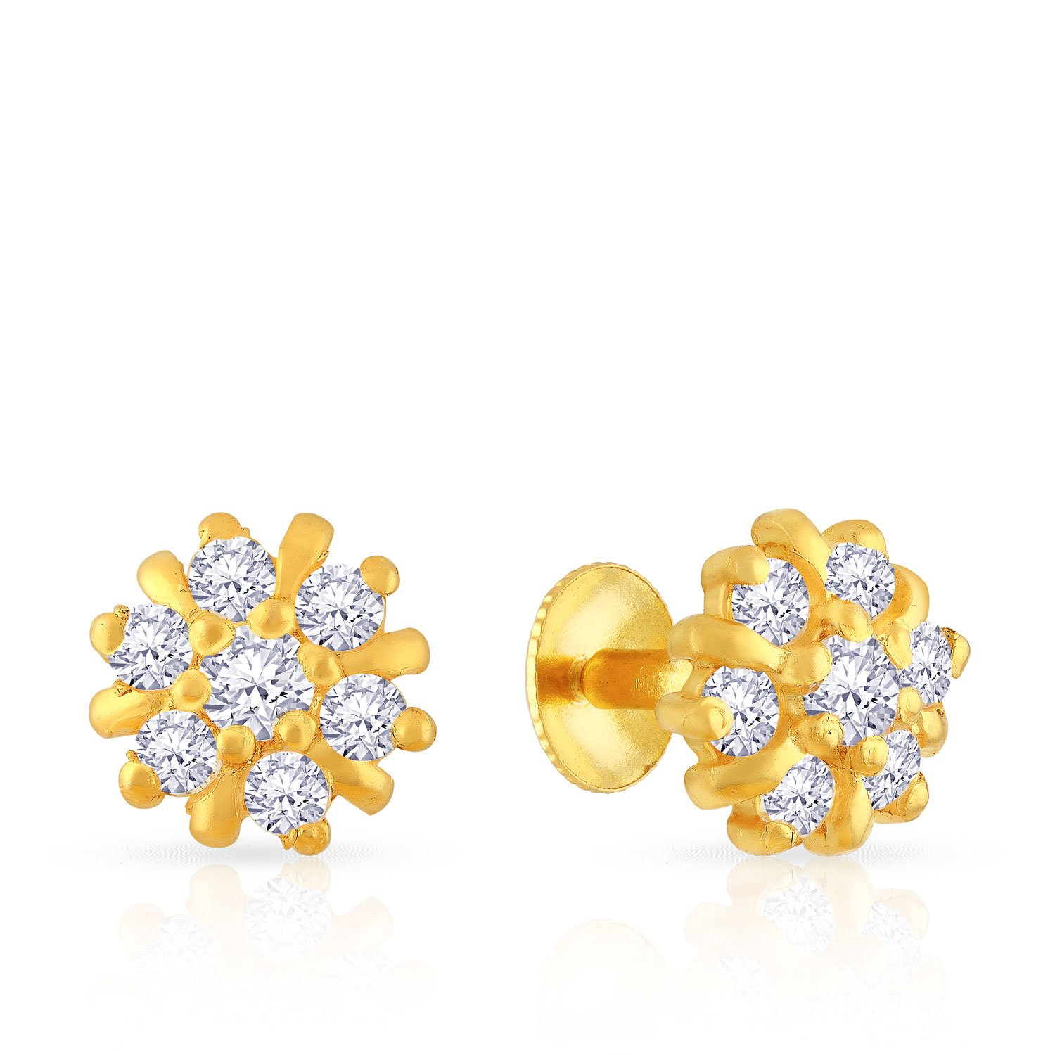 513ca86a5 Malabar Gold and Diamonds 22k (916) Yellow Gold Stud Earrings for Women -  Gia Designer