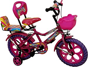 "Rising India 14"" Kids Bicycle for 3-5 Years Double Seat Fan Wheel with Basket and Back Support-Pink (Semi Assembled)"
