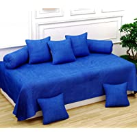 Naini Home 200 TC Cotton Diwan Set of 6 Piece, 1 Bedsheet 60X90 Inch. 5 Piece 16 x 16 inch Cushion Covers and 2-18 x 28 inch Bolster Covers Color 1