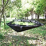 OneTigris Camping Hängematte mit Moskitonetz (inkl. Karabiner und Seile) Belastbarkeit 200kg (Schwarz)