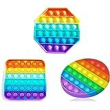 3pcs Push Pop Bubble Sensory Fidget Toy, Pop It Figit Toy Fidget Toys Autism Special Needs Stress Reliever, Special Needs Sil
