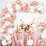 Rorchio Rose Gold Balloon Arch Kit, Balloon Garland Rose Gold Confetti Balloons and Pearl White Balloons, Balloon Tie and Tap