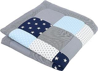 ULLENBOOM ® Baby Krabbeldecke Blau Hellblau Grau (100x100 cm/120x120cm/140x140 cm Baby Kuscheldecke, ideal als Laufgittereinlage, Spieldecke)