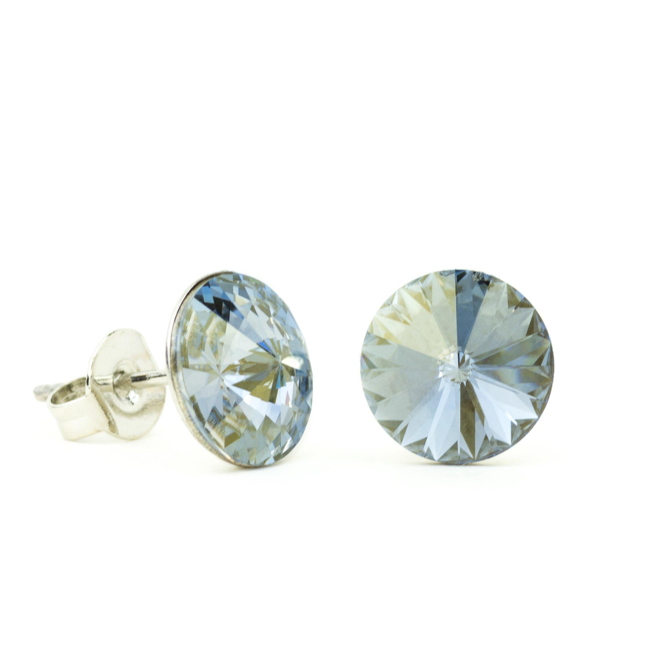 Eve S jewelry���Orecchini da donna Swarovski Elements Crystal Blue Shade placcati argento rodiato bl
