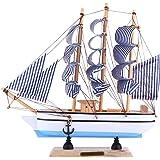 WINOMO Modello di Barca a Vela in Legno Modello di Nave a Vela Arredamento Fatto a Mano Vintage Nave a Vela Nautica Ornamento