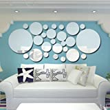 Mainstayae 26pcs/set Acrylic Polka Dot Wall Mirror Stickers Room Bedroom Kitchen Bathroom Stick Decal Home Party Decoration D