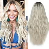ELIM Platinum Blonde Wigs for Women Ombre Long Curly Wavy Hair Wig Natural Fashion Synthetic Full Wigs for Daily Party Z173S