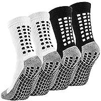Emooqi Calzini sportivi anti-scivolo, 2 paia di calzini sportivi da uomo, in gomma