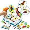 Symiu Mosaique Enfant Puzzle 3D - Jeu Construction Jouet Montessori Perceuse Électronique Créatif Jouet à Visser Jeux Éducati