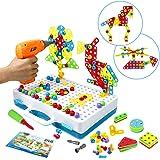 Symiu Juguetes Montessori - Juguete Construcción para Niños Puzzles 3D Mosaicos Infantiles con Divisible Taladro Eléctrico Ju
