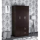 Ren 3 Door Wardrobe with External Drawers in Wenge Finish - Mintwud By Pepperfry