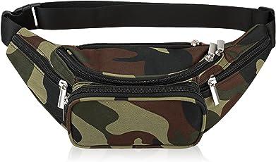 Fanny Pack 5-Reißverschluss Taschen Nylon Gürteltasche für Frauen Männer für Training Sport Reisen und Laufen
