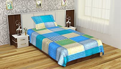 The Intellect Bazaar 152 TC Cotton Bedsheet with 1 Pillow Cover