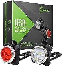 Dorlle Wiederaufladbare LED Fahrradlicht, LED Frontlicht und Rücklicht Für Fahrrad, Kinderwagenbeleuchtung, USB LED Fahrradlampe Set, Fahrradbeleuchtung,350lm Wasserdichte 4 Licht-Modi 2 USB-Kabel zum
