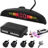 AUTOUTLET Rear Reversing Car Parking Sensors 4 Sensors Kit Audio Buzzer Alarm LED Display, DC 12V
