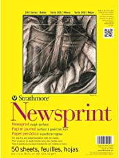 Strathmore 300 Series Newsprint 12''x18'' Off-White Fine Grain 52 GSM Paper, Short-Side Tape Bound Pad of 50 Sheets