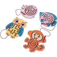 TOYANDONA 4Pcs Enfants Labyrinthe Puzzle en Bois Perle Magnétique Labyrinthe Puzzle Activité Aimant Jouets Perles Jeu de…