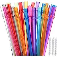 ALINK Lot de 32 pailles réutilisables en Plastique Rigide avec 3 pe Brosse de Nettoyage -Couleurs Arc-en-Ciel (5-6…