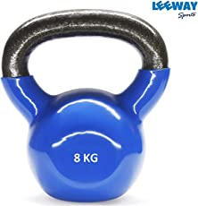 Leeway Vinyl PVC Kettlebells for Strength and Conditioning/Fitness/ Cross Training [ 8 KG to 20 KG ]; Assorted Colour Vinyl PVC Kettle Bell for Home Gym