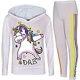 A2Z 4 Kids Enfants Filles Survêtement Rosé Bébé Designer Arc en Ciel Unicorn Dab Floss Encapuchonné Top & Legging Loungewear