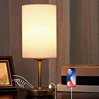 Touch Bedside Lamps, JIAWEN Dimmable USB Table Lamp with 2 USB Charging Ports, Modern Bedside Table Lamps with White…