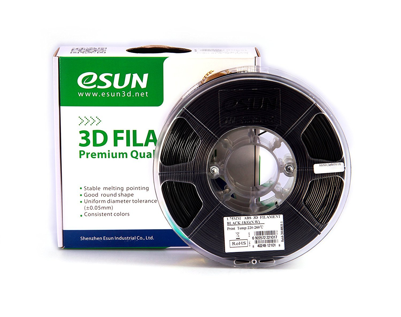 esun Imprimante 3D Filament ABS + 1,75mm 1kg Noir