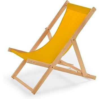 003ef1182cdf2b Chaise longue de jardin en bois - Fauteuil Relax - Chaise de plage jaune